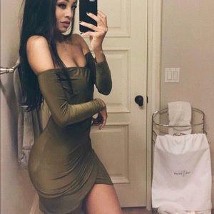 Olive green ots mini dress